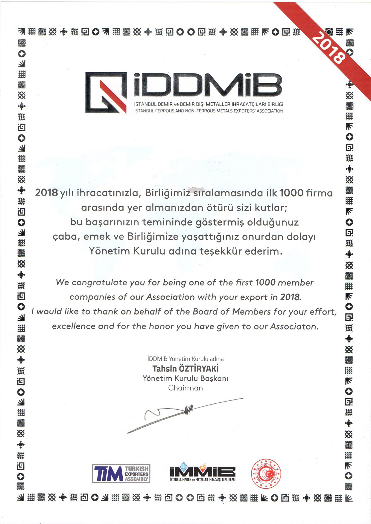 Listed in 1000 Exporters in İMMİB – Donau